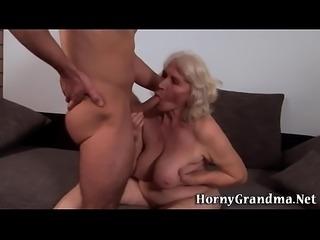 Fat grandma gets cumshot