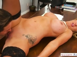 Magnificent and lascivious blonde milf blows dick and fucks her colleague