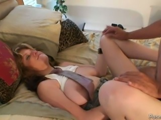 Full breasted torrid MILF got her kitty invaded in mish pose hard