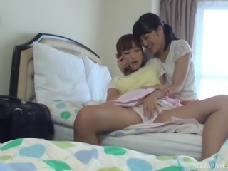 Flat-chested Moa Hoshizora kissing and sleeping with a sexy babe