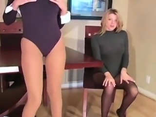 Long leggs and pleasant pussy look in bright tights