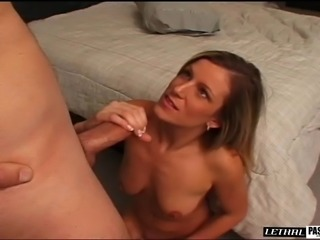 Cowgirl moaning as her shaved pussy gets licked in closeup