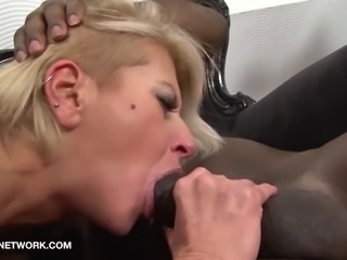 Interracial Threesome Mature Blonde Double Penetration Fuck