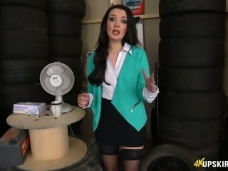 Brunette white milf in office dress flashes her beautiful ass on cam