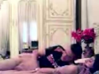Arab girlfriend fingered while kissing boyfriend