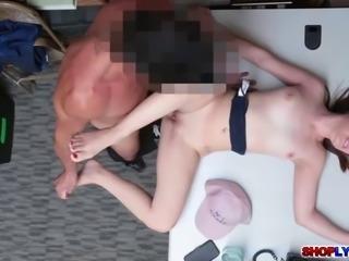 Teen shoplifter Hayden Henessey fucked in the office