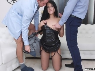 horny courtesan takes on two big dicks