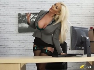 Fantastic smooth skin blonde lady flashes her pussy and masturbates at work