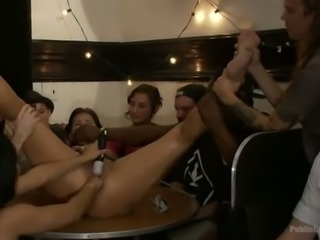 Group of kinky people fuck one lusty chick with vibrator