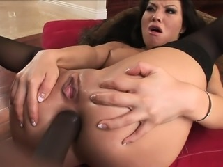 Asa Akira gets a huge black pecker up her butt and sucks out his load