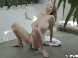 Lean young blondie with enormous natural breasts trains giving blowjob