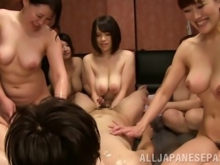 A big group of Japanese women have an orgy with a guy