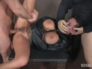 Busty brunette white lady in black leather straitjacket fucked hard in BDSM...