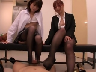 These two Japanese milfs love to dominate strong guys and in this video, the...