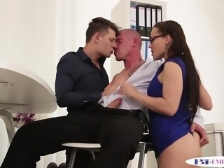 Bisexual office hunk doggystyled during oral