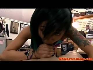 Asian pawnee gagging on pawnbrokers cock