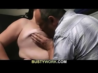 BBW bouncer in fishnets rides his cock