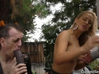 Fantastic dominant blonde milf humiliates white sissy boy with BBC