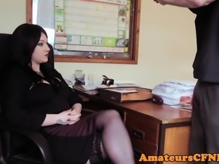 Office CFNM femdom sucking coworkers cock