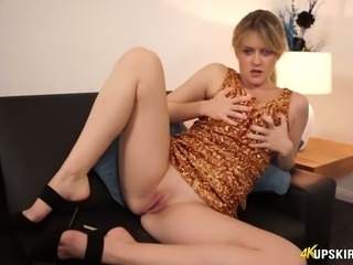 Magnificent all natural blondie in sexy dress shows off her plump ass upskirt