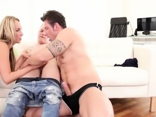 He loves riding a fat dick whiles she's giving him a blowjob