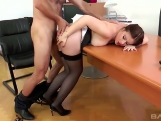 Fantastic redhead white chick loves to be groped and fucked by her boss