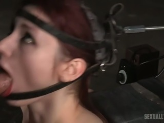 Redhead skinny ugly slut chained and restrained for facefuck action