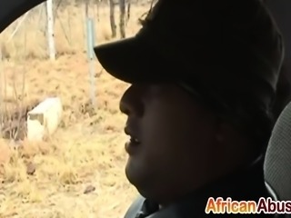 African Hooker Slurps Long White Cock In Car