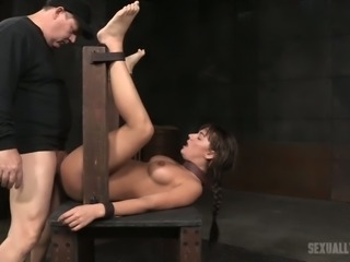 Busty and hot white girl belted and double teamed by BDSM masters