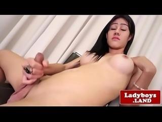 Bigtitted ladyboy tugging until shooting cum