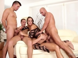 Gorgeous and wild brunette model in fishnet body enjoys gangbang action on...