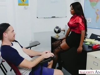 Fabulous and wild black milf blows fat cock of a young white guy