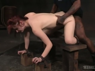 Redhead pale skin whore shackled in doggy style and double teamed hardcore