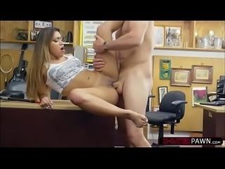 Beautiful brunette Nicole Rey gets banged by Shawns mega dick