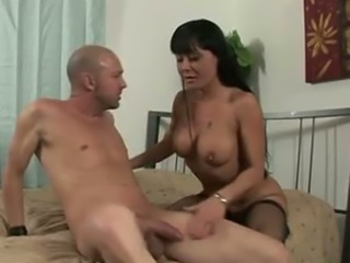 Lovely booty bitch in hot fishnets gets doggy fucked rough