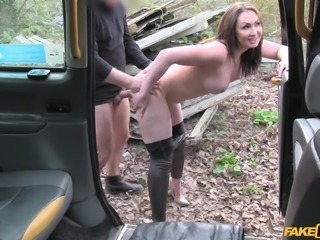 As he bent her over on inside the van, this hot brunette felt her pussy...