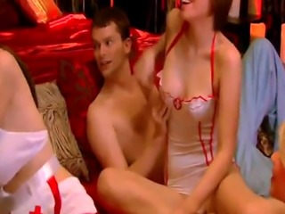 Hot nurses giving an incredible blowjob before getting fucked