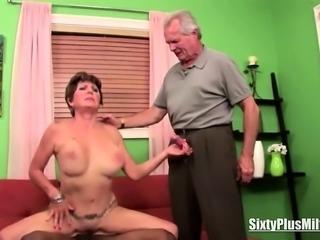 Granny fucks while husband watches