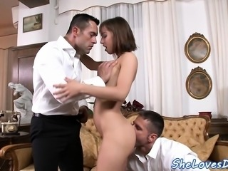 Doublepenetrated euro sucking ass to mouth
