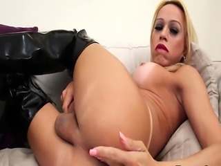 Leather lingerie tranny jerks solo
