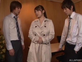 Chubby Japanese babe gets her big tits fucked by two guys