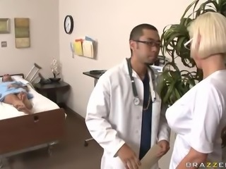 Blonde Nurse Wearing Sexy Lingerie Titty Fucks A Big Dick