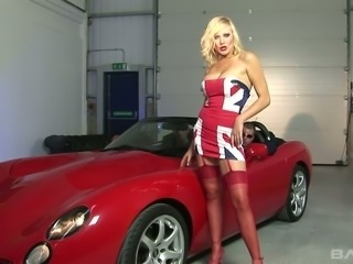 This busty blonde loves fast cars and wild threesomes