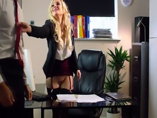 Naughty bigtits Katy Jayne rides bigcock on the office table
