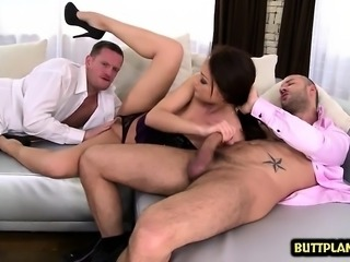 Brunette pornstar threesome and cum in mouth