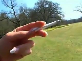Hot UK Blonde In Leather Smoking