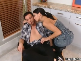 Slender black haired bitch Ann Marie Rios presents classy blowjob to her...
