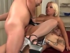 German blonde double fucked in pantyhose