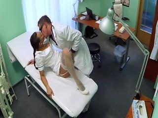 Lingerie nurse sucking doctor on spycam