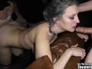 Big Boobs Sperm Gagging Slut Messy Gangbang